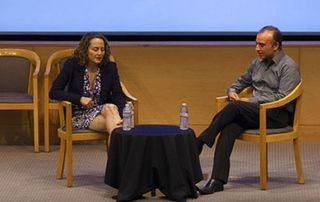 """The Hunger Games"" producer Nina Jacobson and UCLA Anderson professor Sanjay Sood"