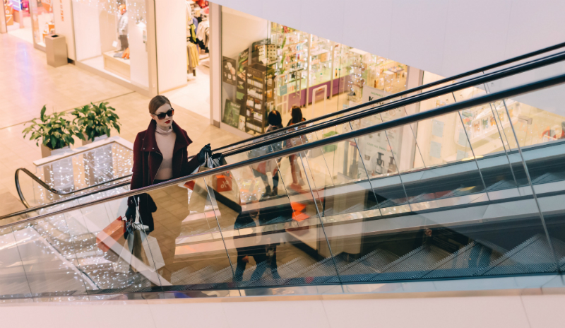 Shopping mall escalator photo from Freestocks.org